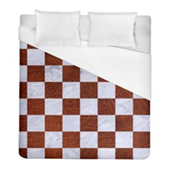 Square1 White Marble & Reddish Brown Leather Duvet Cover (full/ Double Size) by trendistuff