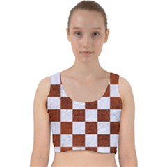 Square1 White Marble & Reddish Brown Leather Velvet Racer Back Crop Top