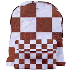 Square1 White Marble & Reddish Brown Leather Giant Full Print Backpack by trendistuff