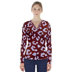 Skin5 White Marble & Reddish Brown Leather (r) V Neck Long Sleeve Top