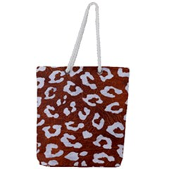 Skin5 White Marble & Reddish Brown Leather (r) Full Print Rope Handle Tote (large) by trendistuff