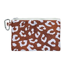 Skin5 White Marble & Reddish Brown Leather (r) Canvas Cosmetic Bag (medium) by trendistuff
