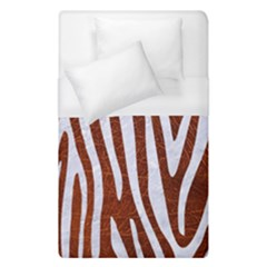 Skin4 White Marble & Reddish Brown Leather (r) Duvet Cover (single Size) by trendistuff
