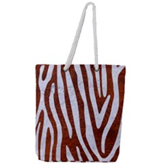 Skin4 White Marble & Reddish Brown Leather (r) Full Print Rope Handle Tote (large)