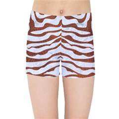 Skin2 White Marble & Reddish Brown Leather (r) Kids Sports Shorts