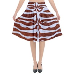 Skin2 White Marble & Reddish Brown Leather Flared Midi Skirt