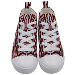 Skin2 White Marble & Reddish Brown Leather Kid s Mid Top Canvas Sneakers