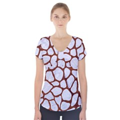 Skin1 White Marble & Reddish Brown Leather Short Sleeve Front Detail Top