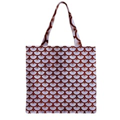 Scales3 White Marble & Reddish Brown Leather (r) Zipper Grocery Tote Bag