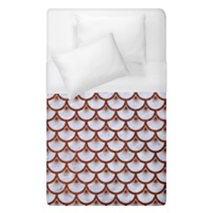 Scales3 White Marble & Reddish Brown Leather (r) Duvet Cover (single Size) by trendistuff