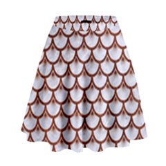 Scales3 White Marble & Reddish Brown Leather (r) High Waist Skirt by trendistuff