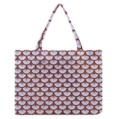 Scales3 White Marble & Reddish Brown Leather (r) Zipper Medium Tote Bag by trendistuff