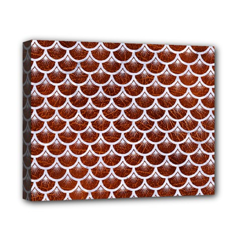 Scales3 White Marble & Reddish Brown Leather Canvas 10  X 8  by trendistuff