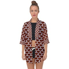 Scales3 White Marble & Reddish Brown Leather Open Front Chiffon Kimono