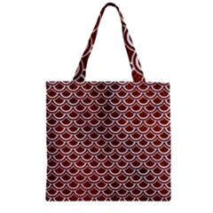 Scales2 White Marble & Reddish Brown Leather Zipper Grocery Tote Bag by trendistuff