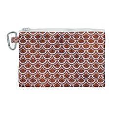 Scales2 White Marble & Reddish Brown Leather Canvas Cosmetic Bag (large)