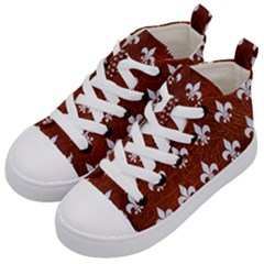 Royal1 White Marble & Reddish Brown Leather (r) Kid s Mid Top Canvas Sneakers by trendistuff