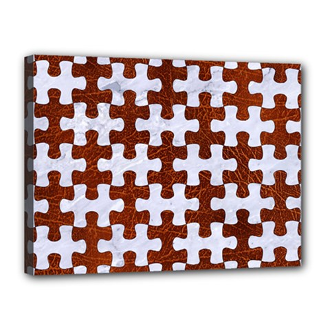 Puzzle1 White Marble & Reddish Brown Leather Canvas 16  X 12  by trendistuff