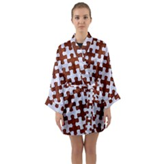 Puzzle1 White Marble & Reddish Brown Leather Long Sleeve Kimono Robe by trendistuff