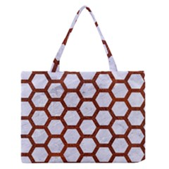 Hexagon2 White Marble & Reddish Brown Leather (r) Zipper Medium Tote Bag by trendistuff