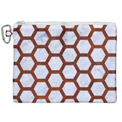 Hexagon2 White Marble & Reddish Brown Leather (r) Canvas Cosmetic Bag (xxl) by trendistuff