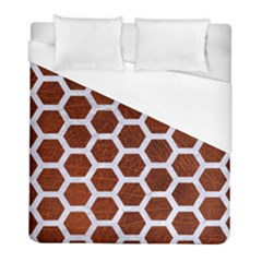Hexagon2 White Marble & Reddish Brown Leather Duvet Cover (full/ Double Size) by trendistuff