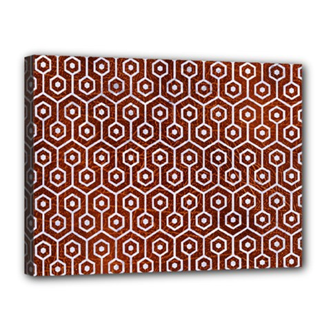 Hexagon1 White Marble & Reddish Brown Leather Canvas 16  X 12  by trendistuff