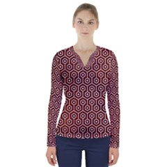 Hexagon1 White Marble & Reddish Brown Leather V Neck Long Sleeve Top