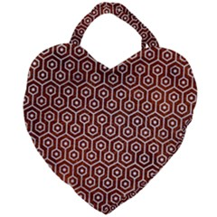 Hexagon1 White Marble & Reddish Brown Leather Giant Heart Shaped Tote by trendistuff