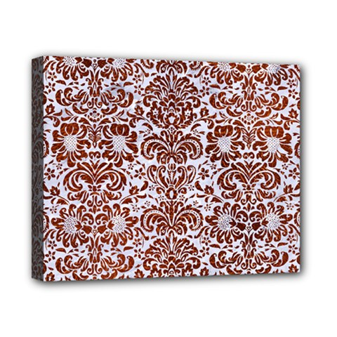 Damask2 White Marble & Reddish Brown Leather (r) Canvas 10  X 8  by trendistuff