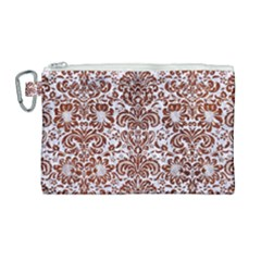 Damask2 White Marble & Reddish Brown Leather (r) Canvas Cosmetic Bag (large) by trendistuff