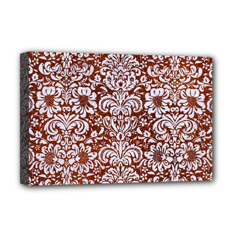 Damask2 White Marble & Reddish Brown Leather Deluxe Canvas 18  X 12   by trendistuff
