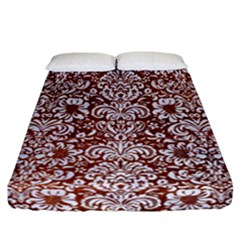 Damask2 White Marble & Reddish Brown Leather Fitted Sheet (california King Size) by trendistuff