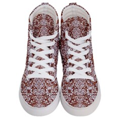 Damask2 White Marble & Reddish Brown Leather Women s Hi Top Skate Sneakers