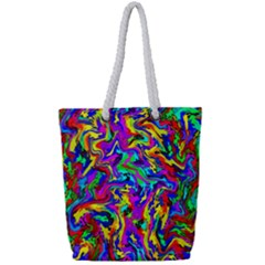 Artwork By Patrick Colorful 18 Full Print Rope Handle Tote (small)