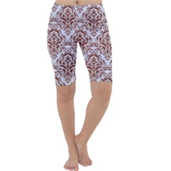Damask1 White Marble & Reddish Brown Leather (r) Cropped Leggings