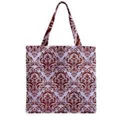 Damask1 White Marble & Reddish Brown Leather (r) Zipper Grocery Tote Bag by trendistuff
