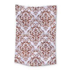 Damask1 White Marble & Reddish Brown Leather (r) Small Tapestry