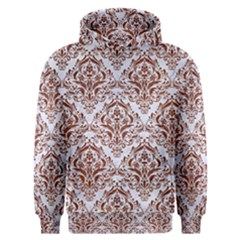 Damask1 White Marble & Reddish Brown Leather (r) Men s Overhead Hoodie