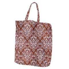 Damask1 White Marble & Reddish Brown Leather Giant Grocery Zipper Tote by trendistuff