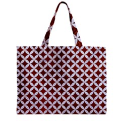 Circles3 White Marble & Reddish Brown Leather Zipper Mini Tote Bag by trendistuff