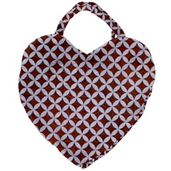 Circles3 White Marble & Reddish Brown Leather Giant Heart Shaped Tote by trendistuff