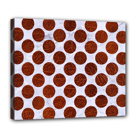 Circles2 White Marble & Reddish Brown Leather (r) Deluxe Canvas 24  X 20   by trendistuff