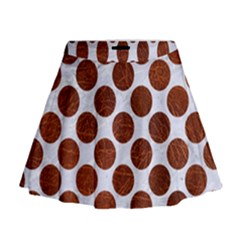 Circles2 White Marble & Reddish Brown Leather (r) Mini Flare Skirt
