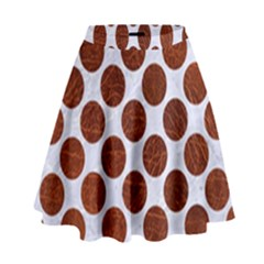 Circles2 White Marble & Reddish Brown Leather (r) High Waist Skirt by trendistuff