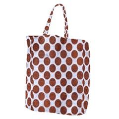 Circles2 White Marble & Reddish Brown Leather (r) Giant Grocery Zipper Tote by trendistuff