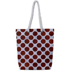 Circles2 White Marble & Reddish Brown Leather (r) Full Print Rope Handle Tote (small)