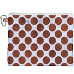 Circles2 White Marble & Reddish Brown Leather (r) Canvas Cosmetic Bag (xxxl) by trendistuff