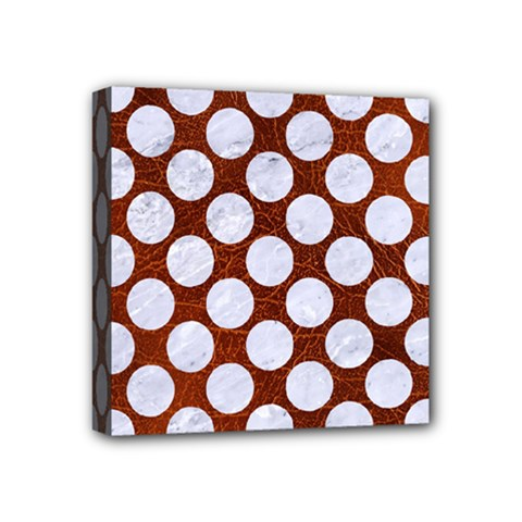 Circles2 White Marble & Reddish Brown Leatherer Mini Canvas 4  X 4  by trendistuff