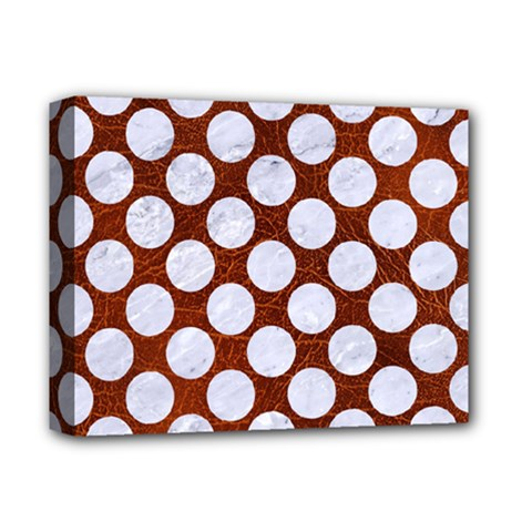 Circles2 White Marble & Reddish Brown Leatherer Deluxe Canvas 14  X 11  by trendistuff